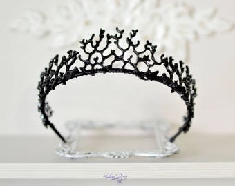 Gothic Crown Black Queen Black Tiara coral twigs headband Black metal branches Crown Gothic Fantasy crown Halloween headband
