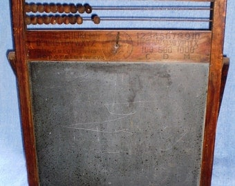 Antique Child's Slate Board and Abaccus-1890's