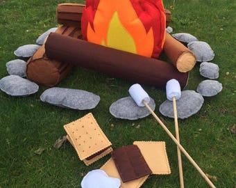 Felt Campfire|BIG Campfire|Camp Decor|Felt Toys|Camper Decor|Toddler Pretend Play|Camp Gift|Felt Fire|Pretend Campfire|Kids Campfire