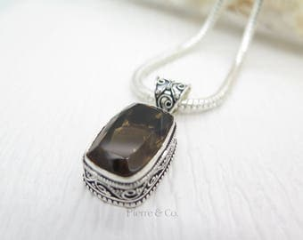Vintage Smoky Topaz Sterling Silver Pendant and Chain