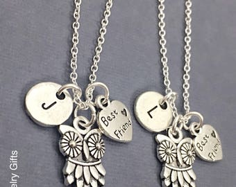 925 Sterling Silver,best Friends Necklace,Owl Necklace,Owl Charm,Couples Necklace,Sisters Necklace,Best Friend Jewelry,Friendship Jewelry