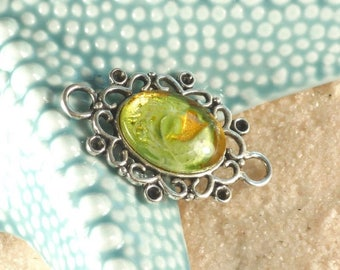 HAND painted gold and green cabochon connector/pendant silver antique Choker necklace / glass insert