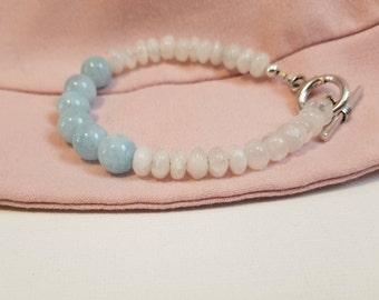 Aquamarine and Moonstone beaded bracelet-healing-anxiety-protection