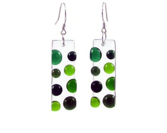 Bubbles Fused Glass Rectangular Earrings. Colorful Dots Earrings, Funky Summer Circles Earrings in Green, Blue, Black, White, Purple, Red