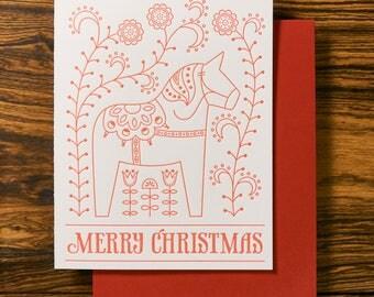 Swedish Dala Horse - Christmas Letterpress Holiday Card