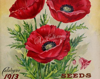 seeds_catalogs-01058 - Poppy papaver three red flowers digital cover with text vintage picture seeds catalogs journal cards printable image
