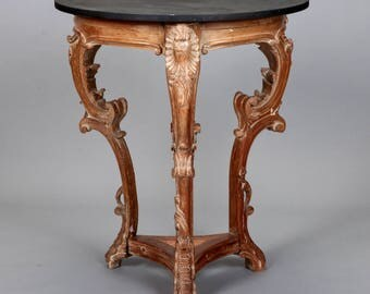 Antique French Limed Oak U0026 Slate Three Legged Round Side Table [4184]