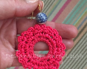 PINK Crochet Lace Earrings | HOT PINK, chinoiserie, lightweight, blue and white, gold, statement earrings