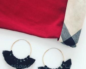 BLACK Tassel Hoop Earrings | gold, hoops, statement earrings, lightweight