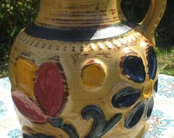 W GERMANY, floral ceramic vase