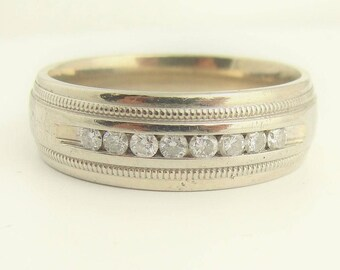 Vintage Mens Diamond Wedding Band- 14k Yellow Gold