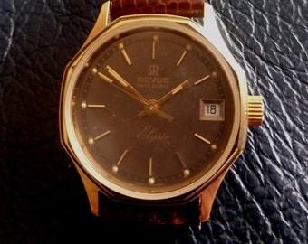 SWISS REVUE ELYSSE Quartz Women's/Lady's Wrist Watch, Vintage New Old Stoke Swiss Revue Elysse Quartz Date Women's Wrist Watch, Swiss Watch