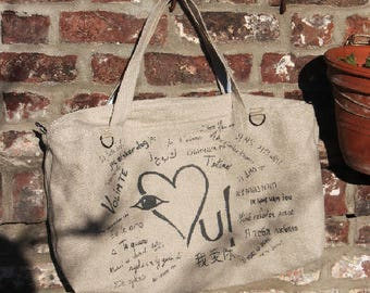"""Hermione Bag """"I love you"""" in linen"""