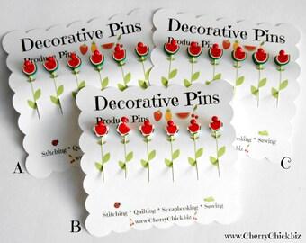 Decorative Sewing Pins - Watermelon Pins - Sewing Pins - Card making Pins - Scrapbooking Pins - Quilting Pins - Fruit Pins - Pin Toppers