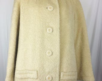 Vintage Bettijean Coat Womens Ivory Tan Buff Beige Fur Collar Warm Winter Dressy