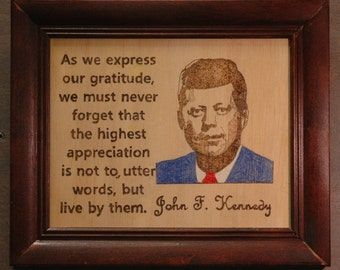 John F Kennedy - portrait and quote