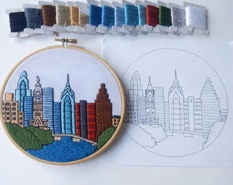 Philadelphia. Hand Embroidery pattern PDF. Embroidery Hoop art,  Wall Decor, Housewarming Gift. Free Hand embroidery guide!