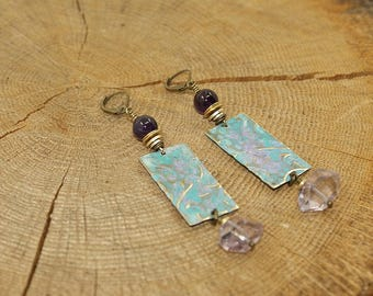 Earrings handcrafted, brass, Amethyst, gemstones