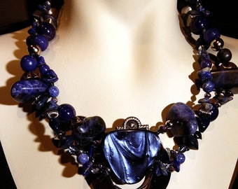 Lapis Lazuli, man made marble, wood, crystal, lucite, navy on silver plated brass.