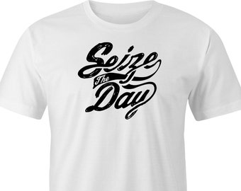 "Printed T-shirt with ""Seize the day"" Logo, ""Seize the day"" logo print T-shirt,Seize the day T-shirt, Seize the day print. Seize the day Tee."