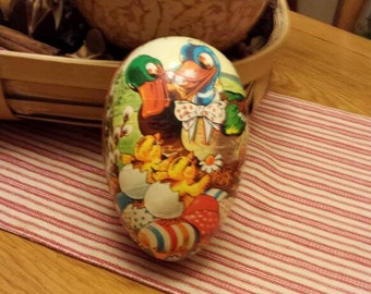 Easter Egg Candy Container - Beautiful Easter Decor - Vintage 1950's Paper Mache - Made in West Germany