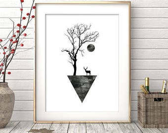 Geometric Wall Art, Digital Print, Black and White Print, Minimalist Decor, Geometric Art, Abstract Poster, Art Prints, Printable Download