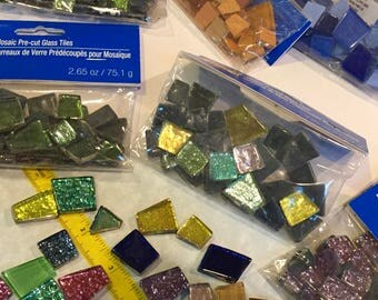 Tiles, mosaic, unopened, Pre-cut, sparkle, glitter, colorful, metallic, unusual shaped, + extra, various, shapes and colors (#1)