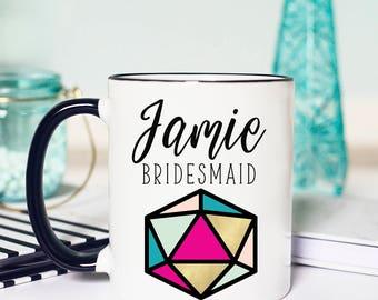Geometric Wedding Decor, Geometric Bridesmaid Gift, Geometric Wedding Gift, Geometric Terrarium, Bridesmaid Mug, Personalized Bridesmaid Mug