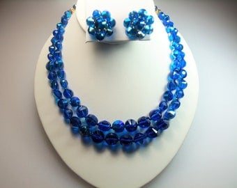 Beautiful Bright Blue Glass Aurora Borealis Bead Double Strand Necklace and Matching Clip Earrings Designer Signed Castlecliff