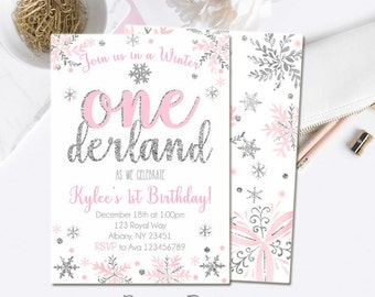 Winter Onederland Invitation, Pink and Silver first birthday invitation, Winter onederland Birthday, Digital File. W204