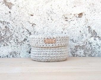Natural home decor, small basket, crochet basket, storage basket, crochet bowl, round basket, home decorations, house interior, eco-friendly