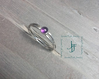 Silver and Amethyst Wire Ring