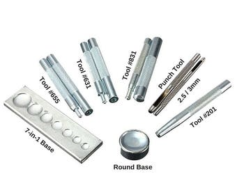 Set Snap Rivet Setting Tool 831/633/655/201 Hole Punch Metal Popper Stud Fastener Leather Rapid Button Base Leathercraft Installation Kit