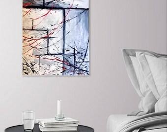 Winter Window - Acrylic Abstract Painting /  Art Decor - Original Artwork - White, Grey, and Orange