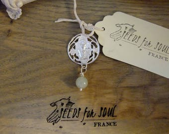 French Handmade Art nouveau St Sacrament, Eucharistic Communion pendant in sterling silver with aventurine