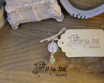 Handmade French Saint Sylvain catholic pendant in sterling silver with aventurine - OAK