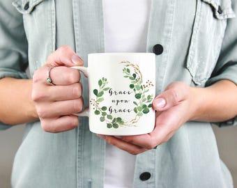 Grace Upon Grace Mug, Christian Mug, Coffee Mug, Tea Mug, Cup, Grace Upon Coffee, Gift for her, Scripture, Bible Verse, Custom Mug, Cute Mug