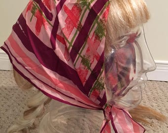 Vintage Vera Neumann Beautiful Pink Geometric Scarf