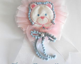 Fairy Kei Lolita Pink and Blue Bear Rosette Pin