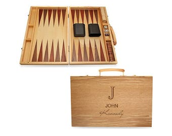 Personalized Backgammon Set - Custom Monogram - Laser Engraved - Wooden Backgammon Board - Board Game - Gift Idea - FREE SHIPPING