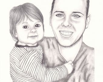 Black & White Custom Portrait, Hand drawn picture, hand drawn portrait, pencil drawing, portraits, custom pencil portrait, custom drawing