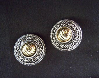 Gold and Silver Clip On Earrings - Vintage Earrings