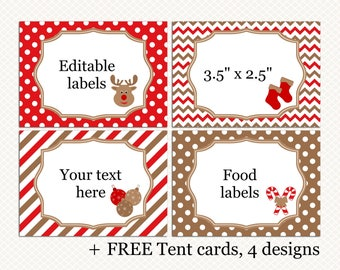 Christmas labels. Christmas tent cards. Red Brown labels. Editable tags. Christmas Holiday Food Buffet Address labels. Free tent cards