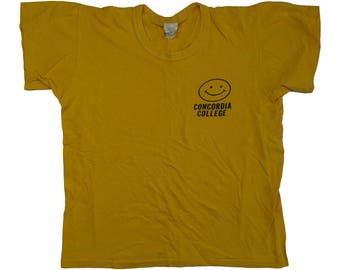 Vintage 1960s Smiley Face Concordia College Yellow T-shirt - S/M