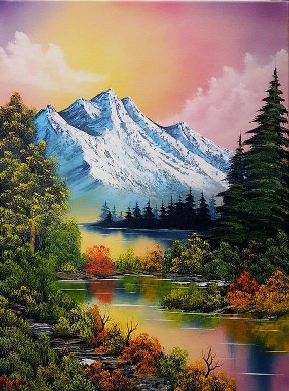Bob Ross Style Original Oil Painting Autumn Glow