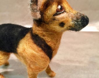 Needle felted dog, German shepherd, dog memorial, dog portrait, custom dog, pet memorial, pet portrait, felted dog sculpture, dog figurine