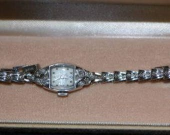 Girard Perregaux 14k White Gold and Diamond Vintage Watch Working Stunning!