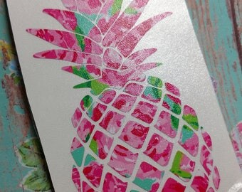 Pineapple Lilly Print Vinyl  Decal  Yeti Decal  Ipad Decal  Window Decal  Vinyl Sticker Pretty Tambler Tumbler Gift Idea