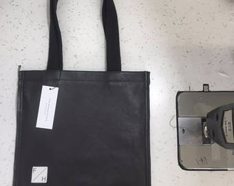 Tote bag square Black or white leather fully lined bag tote with cotton straps Made to order!!
