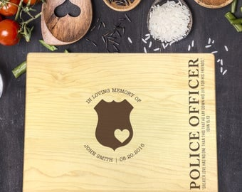 Custom Cutting Board, Custom Cutting Board Police Officer, Cutting Board Wood, Memorial Police, Policeman Prayer, Policeman Wife, B-0108